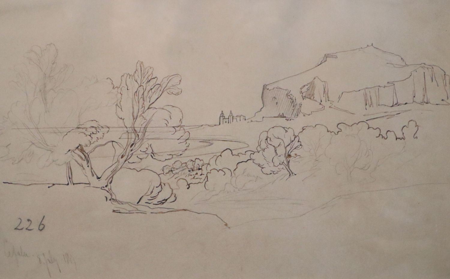 Edward Lear (1812-1888)ink and pencil on buff paper'Cefalu' inscribed and dated 8th July 1847 and