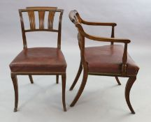 A set of eight Scottish Regency mahogany dining chairs including two carvers, with tablet cresting