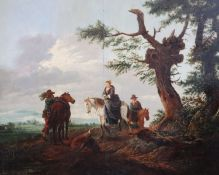 Follower of Philips Wouwerman (Dutch 1619-1668)oil on wooden panelGroup of equestrian figures in a