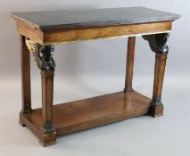 A 19th century French mahogany console table, with black granite top and two side slides, on