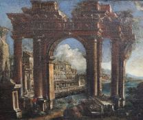 18th century Italian Schooloil on canvasArchitectural caprice with figures beside a ruined arch,