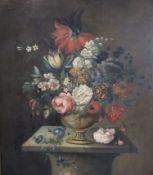Dutch School (17th century)oil on canvasStill life of a flowers in an urn upon a pedestal25.5 x 21.