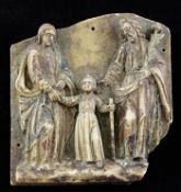 A 15th century Nottingham relief carved alabaster plaque of The Holy Family, The Virgin Mary and