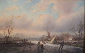 Jan Jacob Spohler (1837-1923)oil on wooden panelWinter landscape with figures on the icesigned6 x