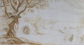 Anton Crussens (c.1635-c.1665)pen and bistre ink on vellum, with double line borderWinter landscape,