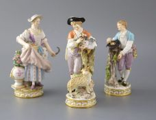 Three Meissen porcelain figures, late 19th century, the first modelled as a shepherd with a love