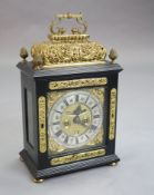 Markwick of London. A late 17th century ormolu mounted ebony repeating chiming bracket clock, with