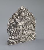 A 17th century? repousse silver plaque, decorated with figures annointing in temple scene amid