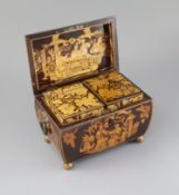 A Regency penwork tea caddy, of sarcophagus form, decorated with chinoiserie figures in gardens, the