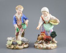 A pair of Meissen figures after the 18th century models of children feeding geese and chickens, 19th