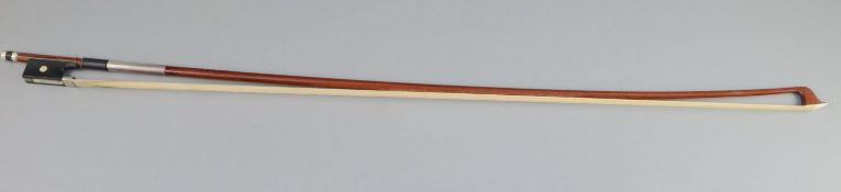 A James Tubbs nickel mounted bow, late 19th/early 20th century, stamped Jas. Tubbs, 74.5cm long