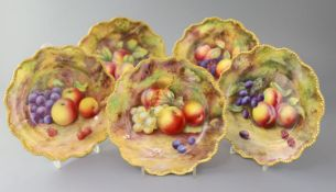 Five Royal Worcester fruit painted dessert plates, c.1929-1932, three painted by T. Lockyer and