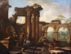 Manner of Giuseppe Zocchi (Italian, 1711-1767)oil on canvasTravellers resting beside a fountain