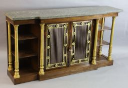 A Regency ormolu mounted rosewood breakfront side cabinet, with grey marble top and two central