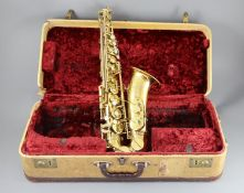 A Henri Selmer, Paris 1959 Mark VI brass lacquered alto saxophone, serial no. M.82599, with mother