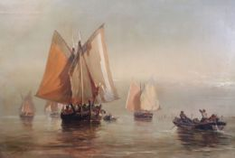 Manner of James Webb (1825-1895)oil on canvasVessels in calm waterssigned and dated '7124 x 36in.