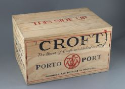 A case of Croft 1975 vintage Port, bottled 1977, original opened wooden crate (12 bottles)CONDITION: