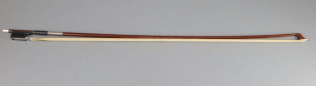 A late 19th/early 20th century silver mounted bow, unmarked, 74cm long