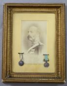 A group of two Crimea War medals awarded to Lieut. Henry Cardew R.A., comprising Crimea medal with