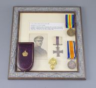 A WWI MC group to 2nd Lieut John Fraser, Royal Fusiliers, the MC framed and mounted with a