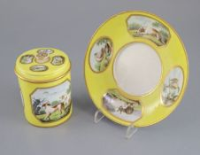 A rare Derby single handled chocolate cup, cover and stand, c.1795-1800, painted in the manner of