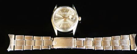 A gentleman's 1970's steel and gold plated Rolex Oyster Perpetual Date wrist watch, with baton