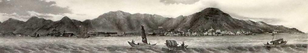 Hong Kong views, three engravings after Lieut. L.G.Heath of HMS Iris 1696a, b and c, largest plate