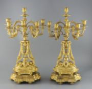 A pair of late 19th century French ormolu six light candelabra, with foliate scroll vineous