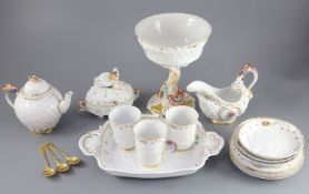A group of modern Meissen copies of the Swan service, post-war, comprising a Triton stemmed bowl,