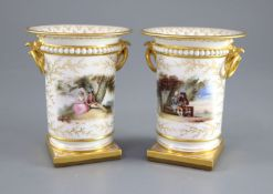 A good pair of Flight, Barr & Barr spill vases, c.1825, each finely painted with a young courting