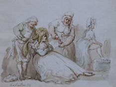 Thomas Rowlandson (1756-1827)pen, ink and wash'The Morning Dram'signed and dated 1813/157 x 9in.