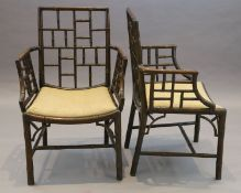 A set of four George III stained mahogany and beech simulated bamboo cockpen elbow chairs, with drop