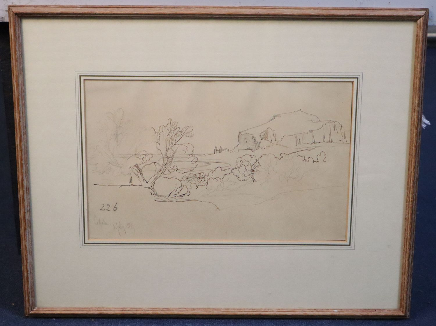 Edward Lear (1812-1888)ink and pencil on buff paper'Cefalu' inscribed and dated 8th July 1847 and - Image 2 of 4