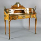 A Louis XV style kingwood and ormolu mounted bureau à rognon, the raised back inset with an eight