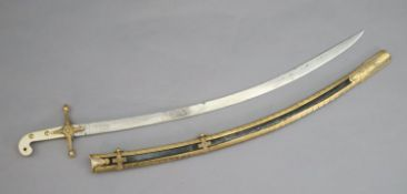 A Victorian 15th King Hussars Levy sword, by Prosser, with ormolu mounts and engraved blade