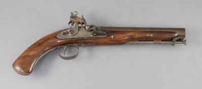 An early 19th century flintlock holster pistol, signed Prosser, length 15in.CONDITION: Looks to be