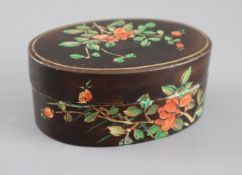 An unusual Chinese coromandel lacquer box, Kangxi period, decorated in colours with peonies and