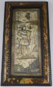 A 17th century English needle and stumpwork panel, with central king like figure standing in a