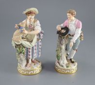 A pair of Meissen figures of a shepherd and shepherdess, 19th century, on circular gilt keywork