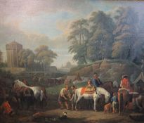 Attributed to Pieter van Bloemen (1657-1720)oil on canvasAn encampment in an Italianate