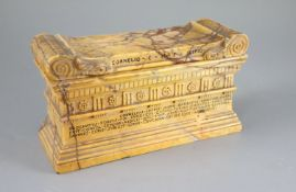 A Grand Tour Sienna marble model of The Tomb of Cornelius Lucius, with removeable lid, width 8.