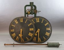 John Moore & Sons of Clerkenwell. A Victorian iron framed turret clock, made to operate two dials