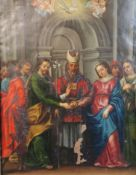 18th century Italian Schooloil on copper panelReligious ceremony with Christ and the Virgin Mary,