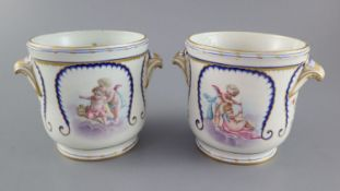 A pair of Sevres half bottle wine coolers, probably 18th century Sevres with 19th century