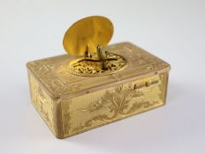 A late 19th century Swiss ormolu singing bird box, with flower and scroll engraved case, catch