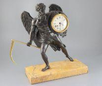 A 19th century French bronze mantel clock, modelled as Cronos holding an ormolu scythe, the drum