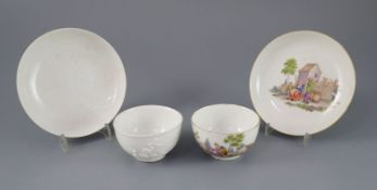 "A Meissen coffee cup and saucer, c.1750, and a Meissen ""prunus sprig"" tea bowl and saucer, c.1730-"