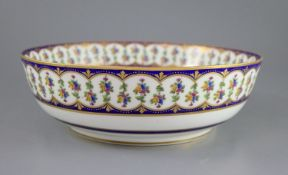 A Sevres hard paste porcelain salad bowl, c.1792, painted by Guillaume Noel (1755-1804) the interior