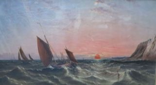 Arthur Joseph Meadows (1843-1907)oil on canvasFishing boats at sea at sunsetsigned and dated