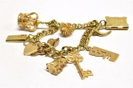 A 9CT GOLD CHARM BRACELET together with nine assorted 9ct gold charms and padlock fastener, the